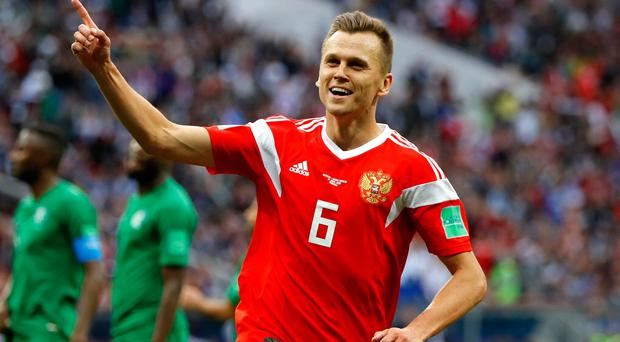 MOSCOW, RUSSIA - JUNE 14: Denis Cheryshev of Russia celebrates after scoring his team's fourth goal during the 2018 FIFA World Cup Russia Group A match between Russia and Saudi Arabia at Luzhniki Stadium on June 14, 2018 in Moscow, Russia. (Photo by Kevin C. Cox/Getty Images)