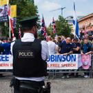 Protestors at a Free Tommy Robinson Rally at Belfast City Hall. Credit: Brendan Harkin