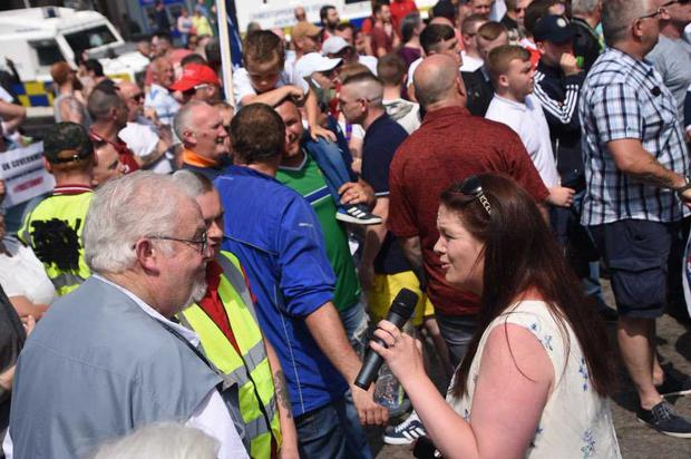 Councillor Jolene Bunting pictured at a Free Tommy Robinson rally at Belfast City Hall. Credit: Brendan Harkin