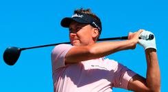 Excellent round: Ian Poulter plays the eighth yesterday