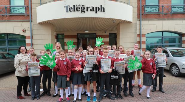 Pupils from Augher Central PS visit the Belfast Telegraph HQ