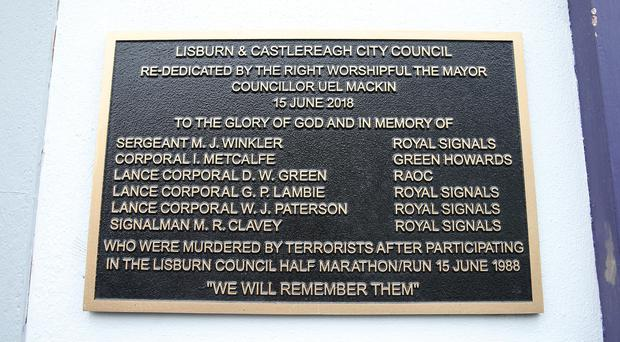 General view of the plaque. Photo by Kelvin Boyes / Press Eye.