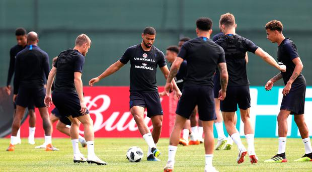 Bright prospect: Ruben Loftus-Cheek goes through his paces at England's training session in Saint Petersburg yesterday