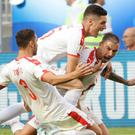 Serbia's Aleksandar Kolarov celebrates with team mates scoring the opening goal during the group E match between Costa Rica and Serbia at the 2018 soccer World Cup (AP Photo/Mark Baker)