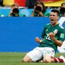 Mexico's Hirving Lozano, celebrates scoring his side's opening goal during the group F match between Germany and Mexico at the 2018 World Cup (AP Photo/Antonio Calanni)