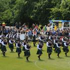 Pipe Major Alen Tully (left in front row) and St Laurence OToole Pipe Band pictured entering the competition arena at the UK Pipe Band Championships at Stormont Estate on Saturday 16th June.