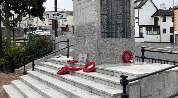 The memorial wreaths which were damaged / Credit: Henry Reilly