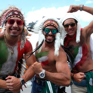 Mexico fans enjoy the pre match atmosphere prior to the 2018 FIFA World Cup Russia group F match between Germany and Mexico at Luzhniki Stadium on June 17, 2018 in Moscow, Russia. (Photo by Alexander Hassenstein/Getty Images)