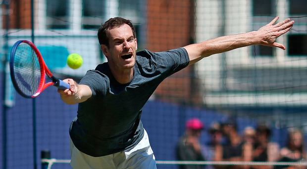 Old routine: Andy Murray in practice yesterday