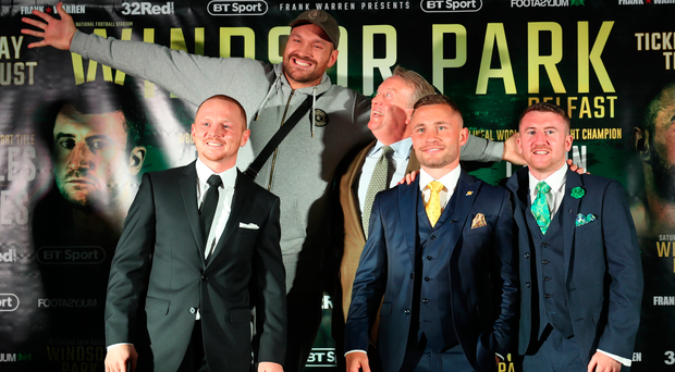 Strong line-up: Luke Jackson, Tyson Fury, Frank Warren, Carl Frampton and Paddy Barnes at the Windsor Park press conference