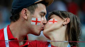 VOLGOGRAD, RUSSIA - JUNE 18: England fans enjoy the pre match atmosphere prior to the 2018 FIFA World Cup Russia group G match between Tunisia and England at Volgograd Arena on June 18, 2018 in Volgograd, Russia. (Photo by Alex Morton/Getty Images)