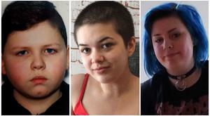 Missing teenagers Patrick Crumlish (13), Emily Brolly (16) and Casey Kealey (16).