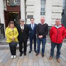 Aidan McAnespie's father John, brother Vincent sister Margo and cousin John Gormely, Solicitor Darragh Mackin: Members of the McAnespie family in Belfast following a meeting with the PPS. Pic: Pacemaker