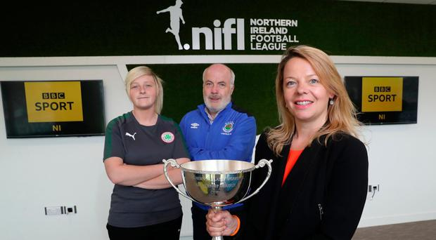 BBC Sport NI Executive Producer Jane Tohill (right) alongside Amber Dempster (Cliftonville Ladies, left) and Phil Lewis (Linfield Ladies, centre)