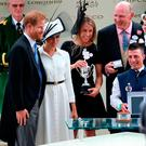 Big moment: trainer John Gosden (back right) with the Duke and Duchess of Sussex after winning the St James's Palace Stakes with Without Parole at Royal Ascot yesterday