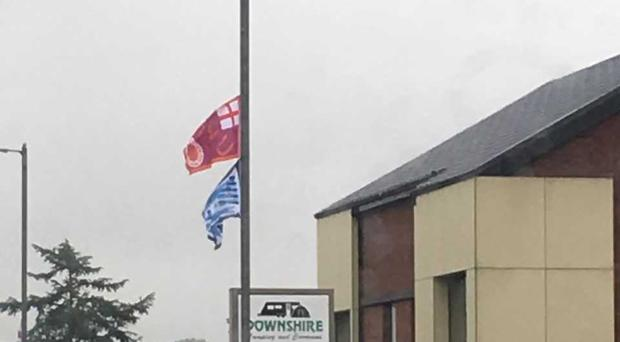 The UVF and YCV flags flying in Banbridge town centre.