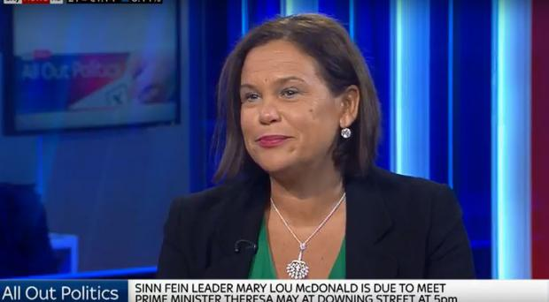 Sinn Fein's Mary Lou McDonald has said Brexit is not a 'trojan horse' for a united Ireland / Credit: Sky News