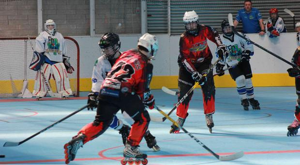 Players get to grips at the recent Inline Hockey junior playoffs