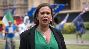 Sinn Fein's Mary Lou McDonald outside the Palace of Westminster while in London where she is due to meet Prime Minister Theresa May for talks (Stefan Rousseau/PA)
