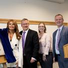 From left: Roma Downey with Professor Paddy Nixon, Vice-Chancellor, Ulster University, Breeda Henderson, nursing student, and Dr Malachy O'Neill, Provost of Ulster University's Magee Campus