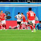 Crowd pleaser: Russia's Denis Cheryshev (centre) scores in the win over Egypt on Tuesday night in St Petersburg