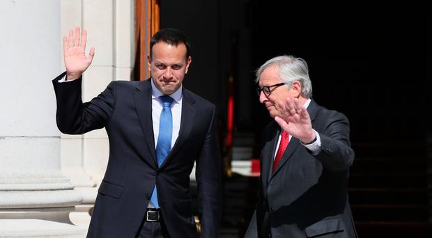 Taoiseach, Leo Varadkar (left) with the President of the European Commission, Jean-Claude Juncker, outside Government Buildings, during his visit to Dublin - Credit: Brian Lawless/PA Wire