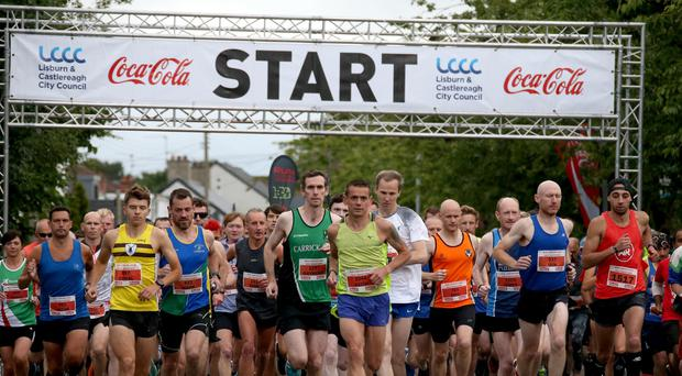 Runners set off at the start line of the Lisburn Half-Marathon, 10k and Fun Run