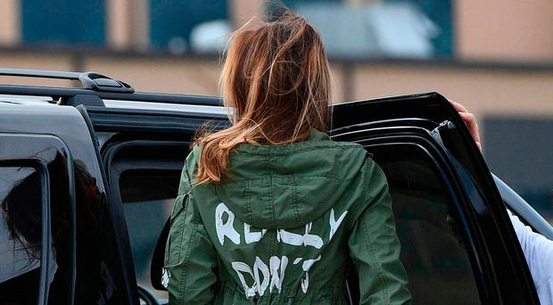 Melania Trump with the much talked about jacket