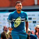 Not sorry: Nick Kyrgios reacts during his tie with Kyle Edmund