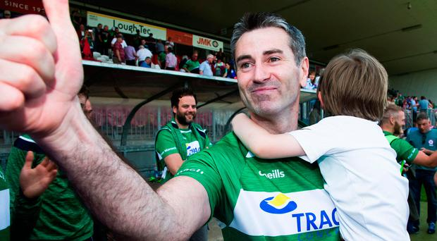 Thumbs up: Rory Gallagher with son Seanie after semi-final joy, but Donegal will pose a mammoth test