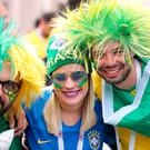 Brazil fans show their support ahead of the FIFA World Cup Group E match at Saint Petersburg Stadium, Russia. Pic: Owen Humphreys/PA Wire.