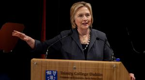 Hillary Clinton gives a lecture in the Edmund Burke Lecture Theatre, Trinity College Dublin ahead of receiving an honorary degree from the university (Brian Lawless/PA)