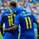 Brazil's goalscorers Neymar (left) and Philippe Coutinho (right)