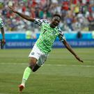 Nigeria's Ahmed Musa (right) celebrates his goal
