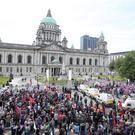 Press Eye - Belfast - Northern Ireland - 23rd June 2018 UK freedom march and protest along with United Against Racism counter-protest at Belfast City Hall. Picture by Jonathan Porter/PressEye
