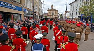 REPRO FREE.. Thousands of people on the streets of Coleraine, County Londonderry for Northern Ireland Armed forces day, over 1200 Military and bands marched in the town. Pic Steven McAuley/McAuley Multimedia