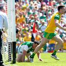 Ulster GAA Senior Football Championship Final, St. Tiernach's Park, Clones, Co. Donegal's Eoghan Ban Gallagher scores his sides opening goal. Mandatory Credit ©INPHO/James Crombie