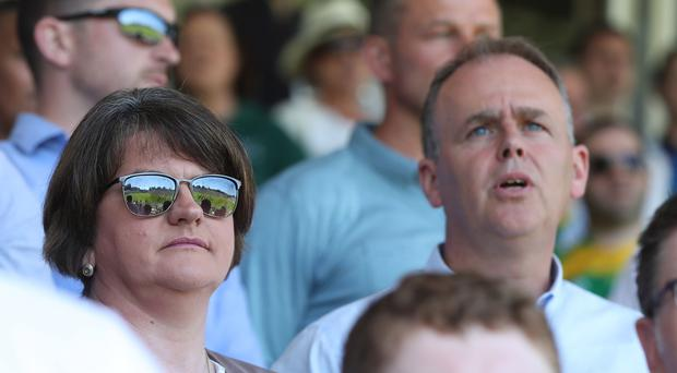 DUP Leader Arlene Foster and Minister of State at the Department of the Taoiseach Joe McHugh at the final (Niall Carson/PA)