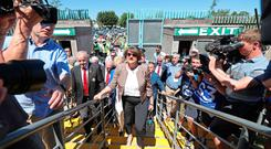 DUP Leader Arlene Foster at the Ulster final between Fermanagh and Donegal in Clones, Co Monaghan, Ireland. Pic: Niall Carson/PA Wire