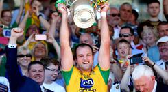 Ulster GAA Senior Football Championship Final, St. Tiernach's Park, Clones, Co. Donegal's Michael Murphy lifts the cup. Pic ©INPHO/James Crombie