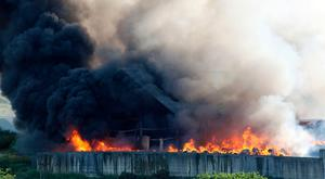 The fire at the site of the former Brickkiln factory in Co Londonderry yesterday