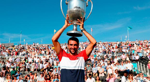 Big lift: Marin Cilic celebrates with the Fever-Tree Championship title