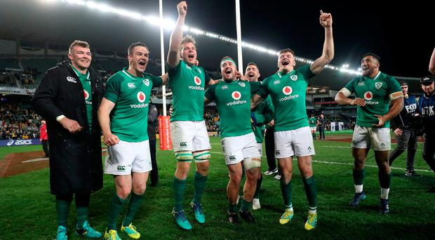 Green giants: Ireland's Peter O'Mahony, Johnny Sexton, Jordi Murphy, Rob Herring, Rob Kearney, Jacob Stockdale and Bundee Aki reflect on their series win