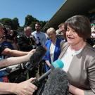 DUP Leader Arlene Foster at the Ulster final between Fermanagh and Donegal in Clones, Co Monaghan (Niall Carson/PA)