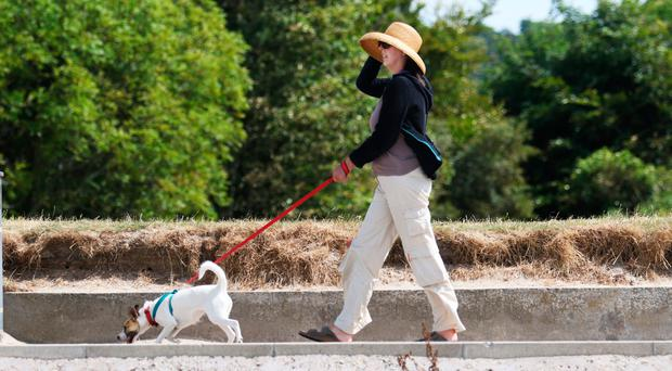 A woman walks her dog at Seapark