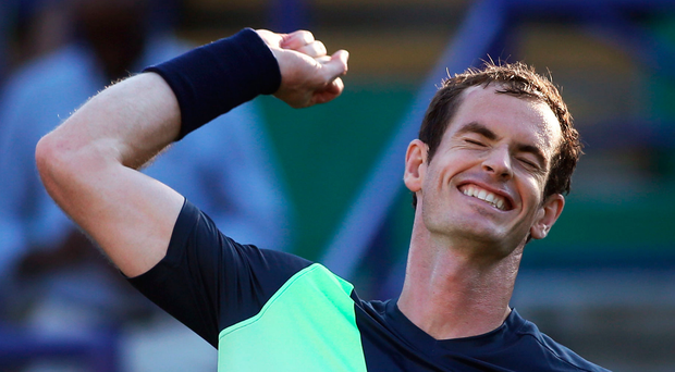 Big release: Andy Murray celebrates