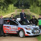 Scene setter: Mayor of Antrim and Newtownabbey, Paul Michael, joins event director Robert Harkness (left) and drivers Johnnie Mulholland, Jonny Greer and Desi Henry at the Ulster Rally launch