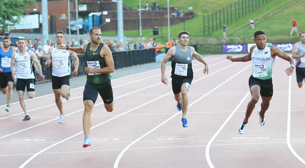 Top class: NI's Leon Reid (right) just misses out in the Belfast International 200m at the Mary Peters Track