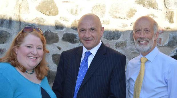 John Blair with Alliance leader Naomi Long and David Ford