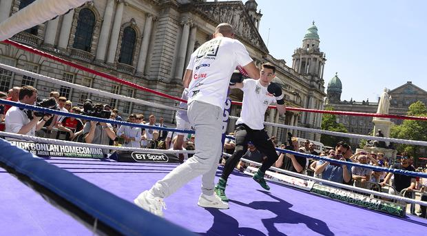 Bright spark: Michael Conlan works out at Belfast City Hall
